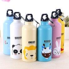 Zylindrischen Niedliche Cartoon-Tier Familie Sport Wasserflaschen Kaninchen Elefanten Umwelt Tragbare Flasche Aluminium Karabiner