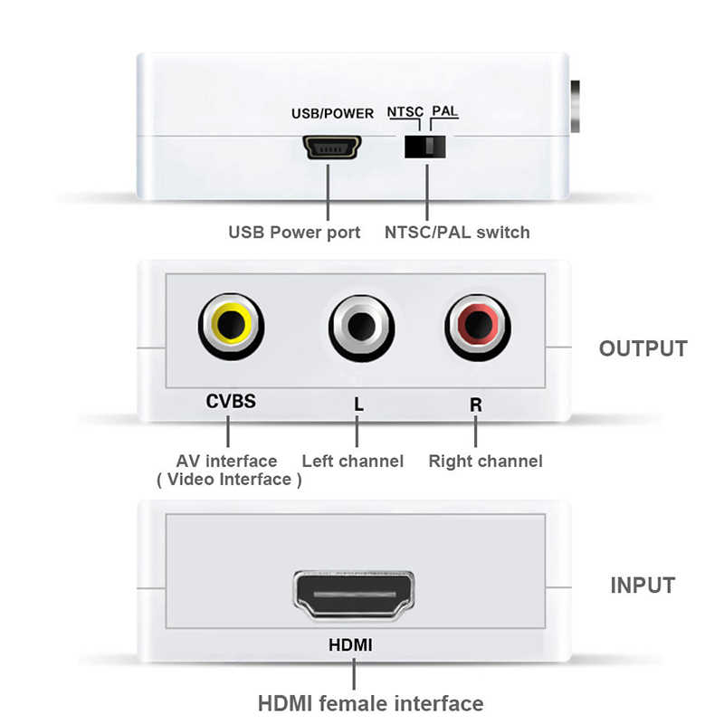 Mini Komposit 1080 P HDMI ke RCA Audio Video AV CVBS Adapter Converter AV/RCA ke HDMI Vedio Converter Adapter Konektor Untuk TV