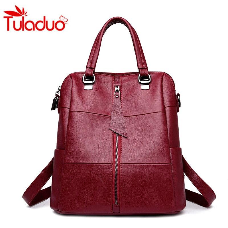 2018 Women Multifunction Backpack Leather Women Shoulder Bags Large Capacity Backbag Female Zipper School Bag Travel Bag Mochila цена