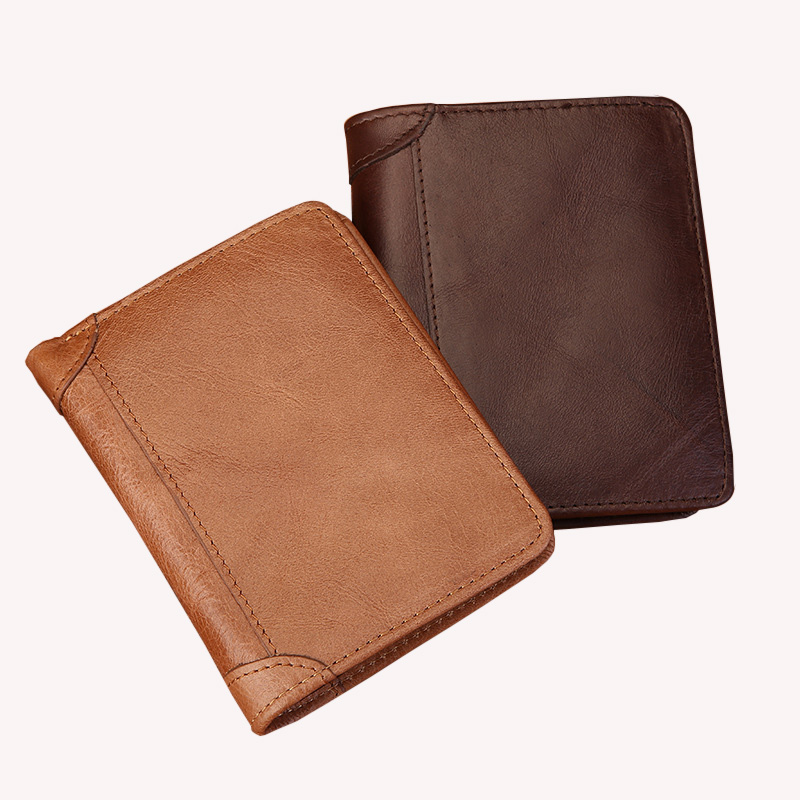 Cow Leather Wallet Male Retro 3 Fold High-Capacity Short Purse Small Credit Card Money Wallet for Men Dollar Price Portomonee men wallet fashion leather purse credit card holder dollar wallet male small wallet short money purses male clutch wallets