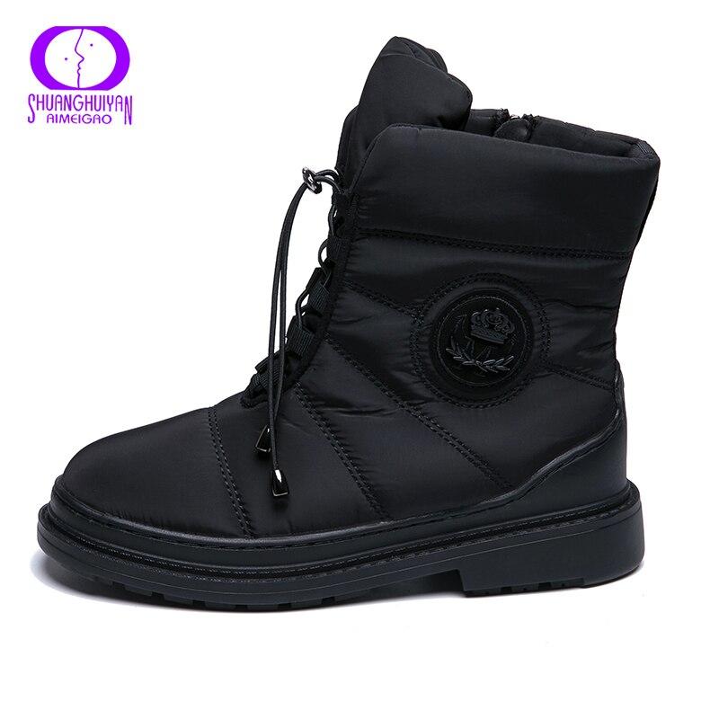 628968b79 Купить AIMEIGAO теплые зимние женские ботинки на меху высокого качества,  непромокаемые ботинки с плюшевой стелькой, женская обувь на платформе и  каблу.