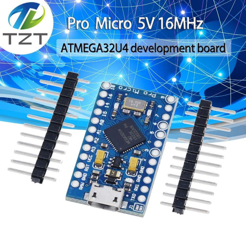 TZT Pro Micro ATmega32U4 5V 16MHz Replace ATmega328 For Arduino Pro Mini With 2 Row Pin Header For Leonardo Mini Usb Interface