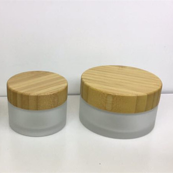 50pcs *15g Frosted cosmetic glass jar bottle with wooden bamboo lid recycled glass jars