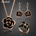 New Classic Black Rose Flower Necklace Earrings Rings With Rhinestones Lucite Drop the Oil Austrian Crystal Flower Jewelry Sets