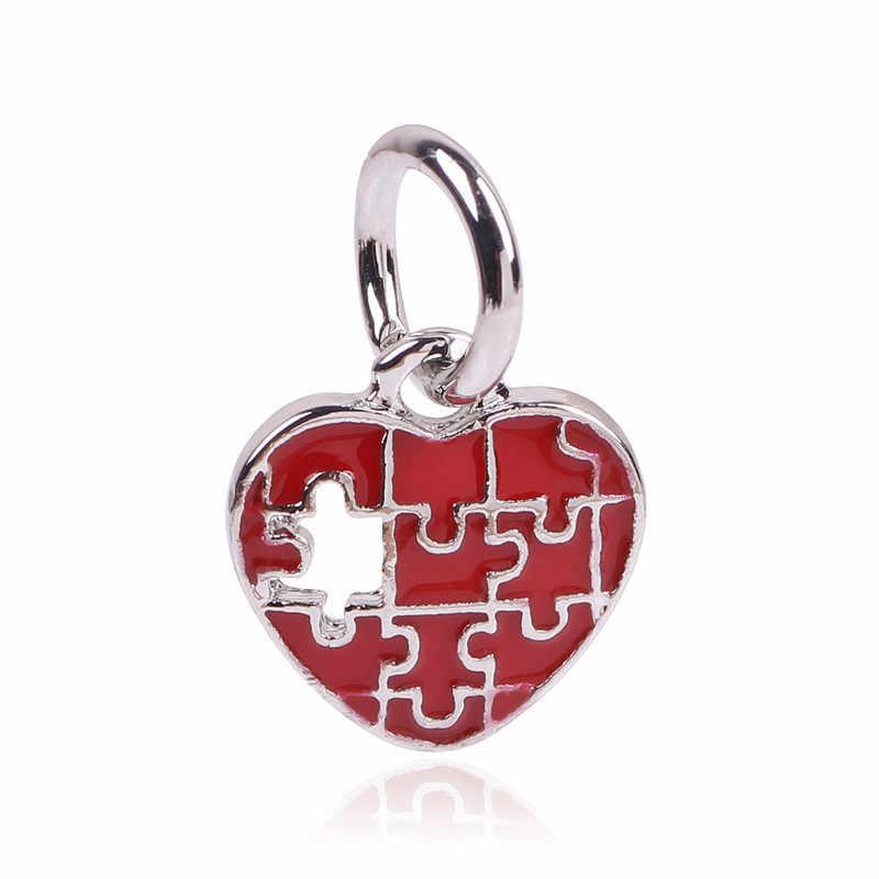 2019 Новое поступление Бесплатная доставка головоломки аутизм прелести Jigsaw Монстр Бусы Fit бусы Пандора и браслет из сердечек хрустальные подвески