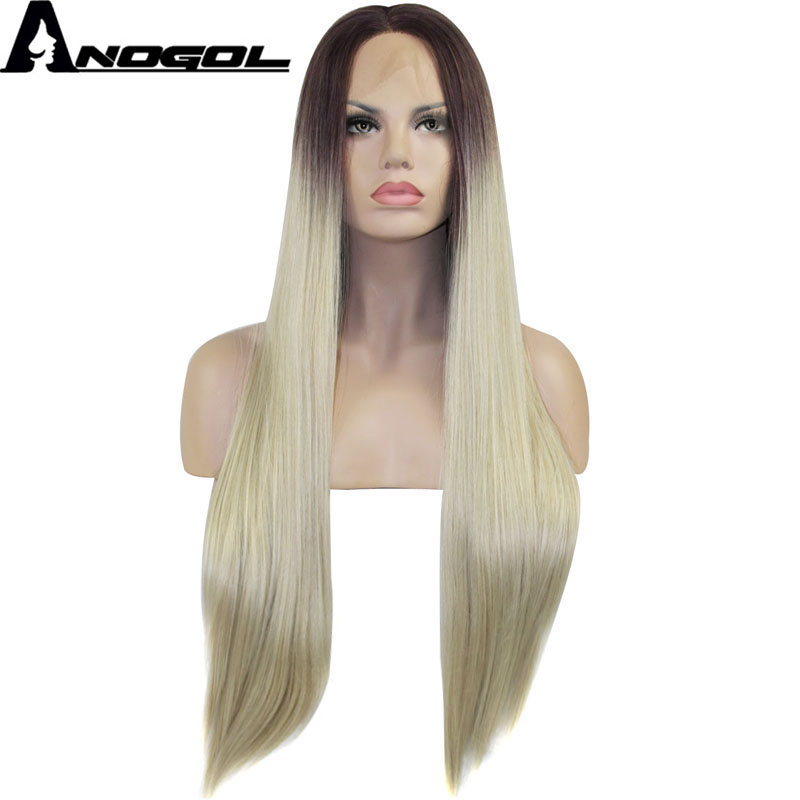 Anogol Glueless High Temperature Fiber Hair Ombre Dark Roots Light Blonde Long Straight Synthetic Lace Front Wigs For Women
