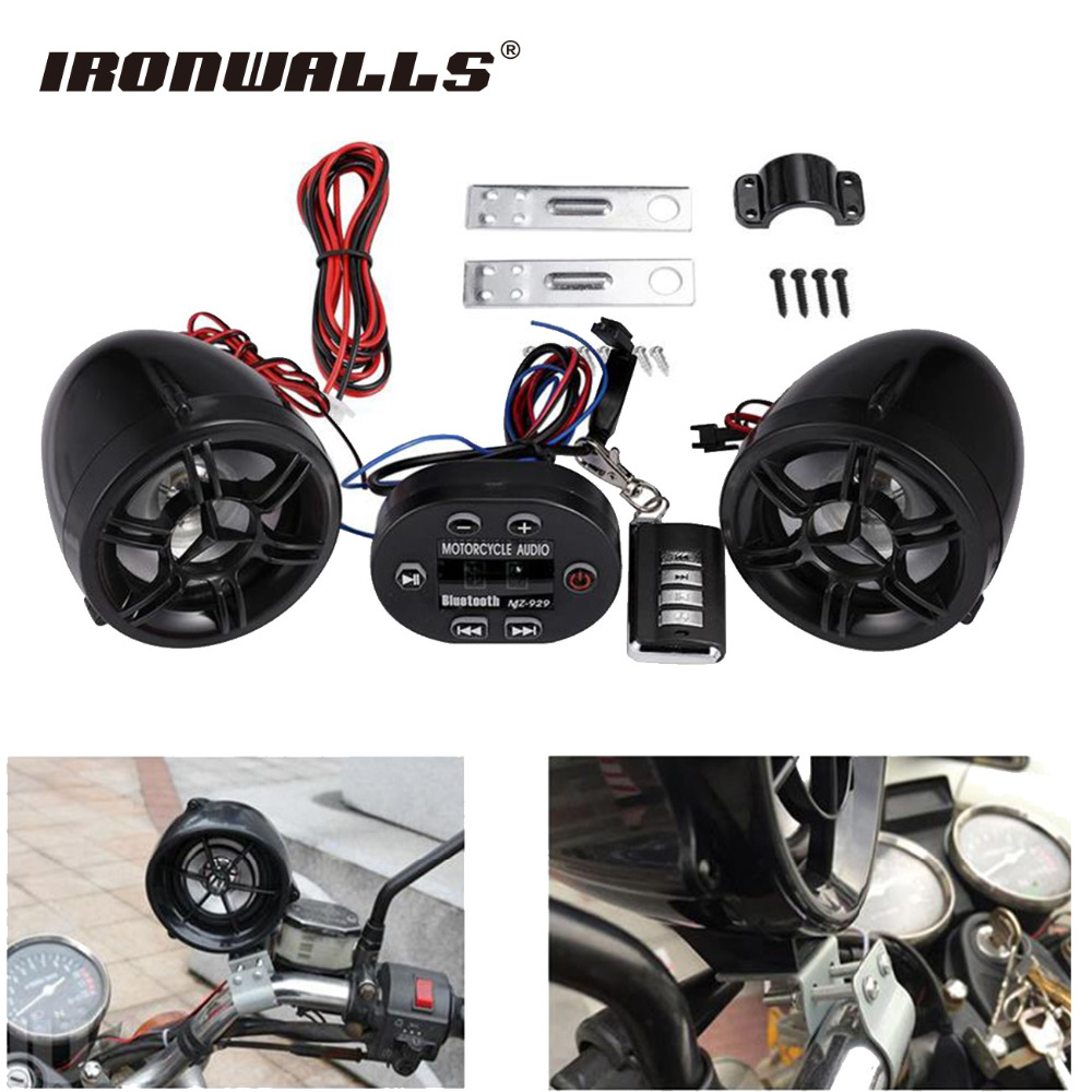 Ironwalls 12v motorcycle radio audio sound system mp3 usb player wireless bluetooth abs shell anti
