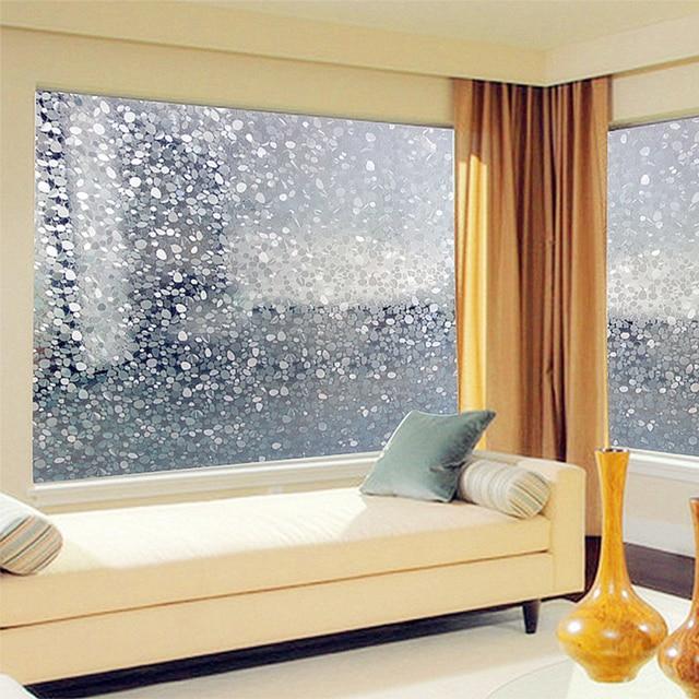 Window film 45x100cm removable cobblestone shape glass wall sticker home decor diy slide door window stickers