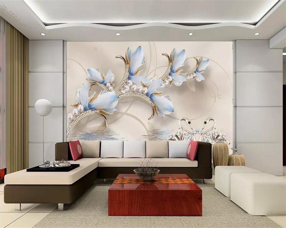 US $8.85 41% OFF|Beibehang Custom wallpaper HD Magnolia Swan Jewelry TV  background wall home decoration living room bedroom 3d wallpaper murals-in  ...