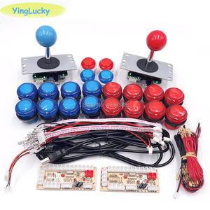 Image 2 - Dla 2 osób DIY drążek arkadowy zestawy z 20 LED zręcznościowa przyciski + 2 joysticki + 2 USB enkodera zestaw + zestaw kable Gra arkade zestaw części