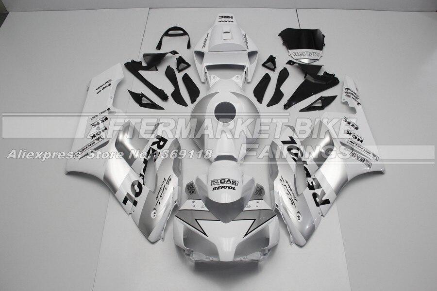 ABS Пластик полный CBR1000RR 2004 Серебряный Repsol обтекатель комплект 2005 для Honda литья под давлением