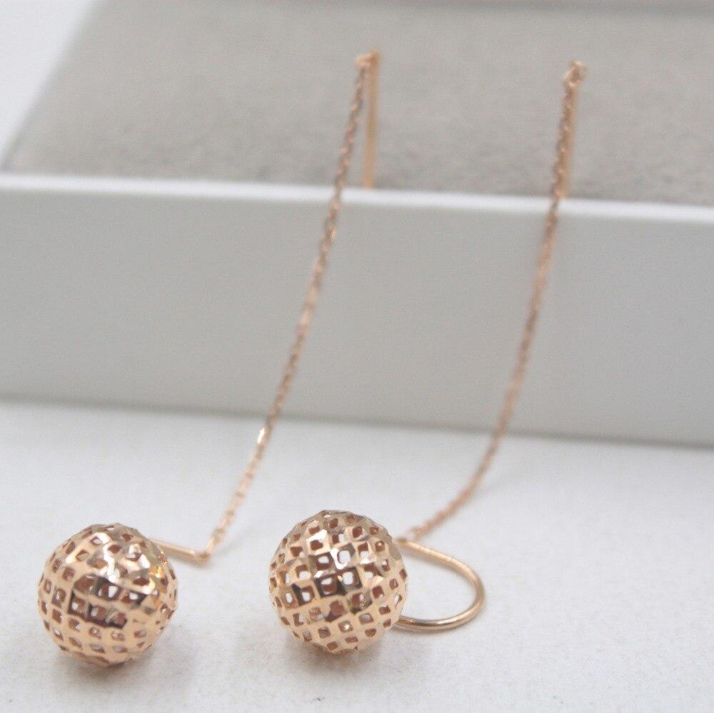 Boucles d'oreilles en or Rose 18 K pur cadeau de balle personnalisé boucles d'oreilles en forme de boule creuse mignon Drop 2-2.2g bijoux de tous les jours O maillon de chaîne - 3