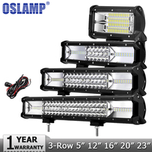 "Oslamp 5 ""12"" 16 ""20"" 23 ""3-Row LED Işık Bar Offroad Led Bar Combo Işın Led İş Işık Bar Kamyon SUV 4×4 ATV için 4WD DC12v 24 v"