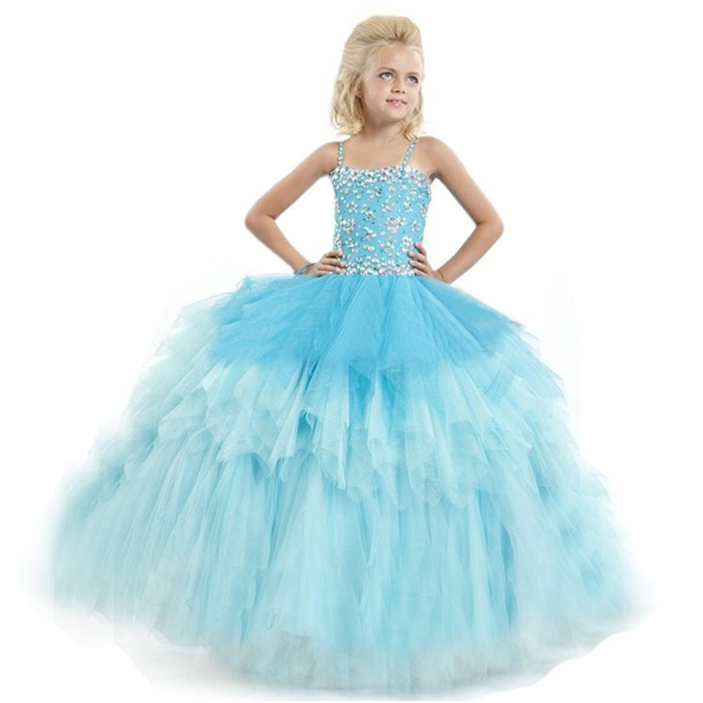 цены  Glitz Beaded Up Thin Straps Square Neck Flower Girl Vestidos Tiered Mint Blue Color Organza Floor Length Plus Size Pageant Gowns