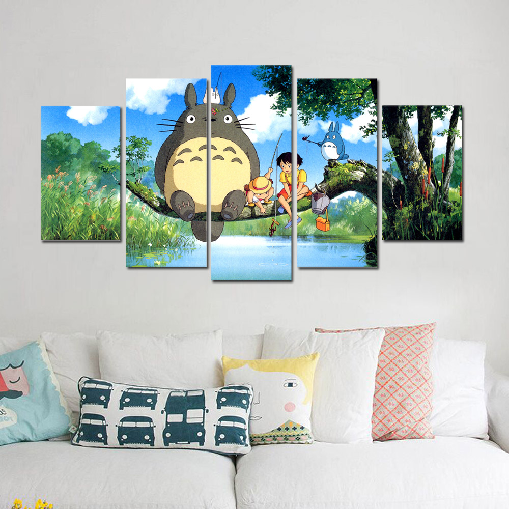 Unframed Canvas Painting My Neighbor Totoro Poster Giclee Modular Picture Prints Pictures For Living Room Wall Art Decoration