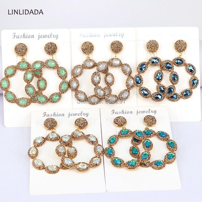 5Pair Big Flower Earrings Pave Rhinestone Mix Color Crystal Glass Drop Earrings Lady Gift