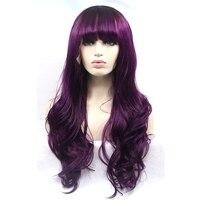 JOY & BELLEZZA donne capelli dell'onda del corpo parrucche 70 cm lunghi ondulati capelli viola pizzo sintetico parrucca anteriore libera il trasporto