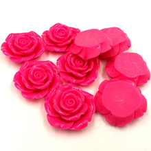 5Pcs Dome Seals Cabochons Cameos Luggage Ornament Fuchsia Rose Flower Shape Resin Crafts DIY Findings 43mm