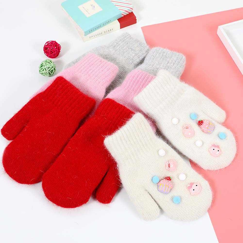 Crianças Bebê Menina Pompom Emblema Dos Desenhos Animados luvas Completo Dedo Luvas de Inverno Luvas Quentes