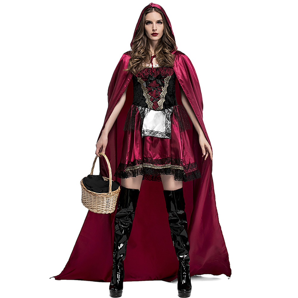 Deluxe Gothic Red Riding Hood Costume with Luxury Long Cape Dark Fairy Tales Adult Women Christmas Fancy Dress New Years Gift