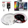 New Universal QI Wireless Charger Charging Pad with Receiver Blue Light Crystal for iPhone Samsung LG Nokia HTC Android Phone