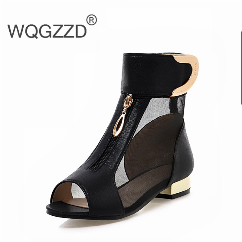 2018 Sommer Elegante Mesh Sandalen Peep Toe Schuhe Frau Niedrigen Heels Sandalen Große Größe 34-43 Geschickte Herstellung