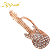 Ajojewel Shinning Crystal Two Finger Double Ring Trendy Guitar Rings For Women Party Jewelry Annel