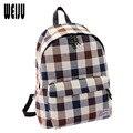 2016 Nueva Moda mujeres de La Lona bolsas mochila Bolsas de Viaje mochilas Escolares Informal Estilo Británico A Cuadros de Alta Calidad 7.6-200