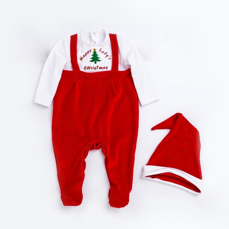 Для новорожденных девочек комплект одежды для мальчиков Рождество Спортивный костюм для малышей 2 предмета в комплекте красный Комбинезон...