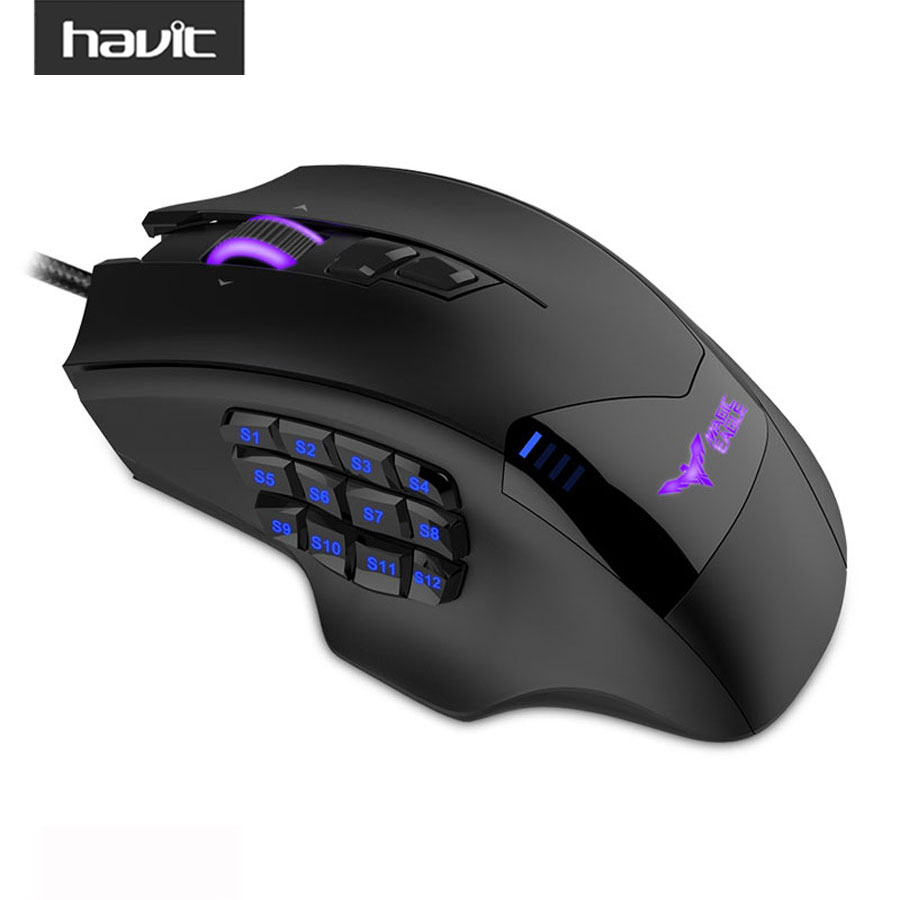 HAVIT Programmable Gaming Mouse Wired font b USB b font 19 Buttons 12000DPI LED High Precision