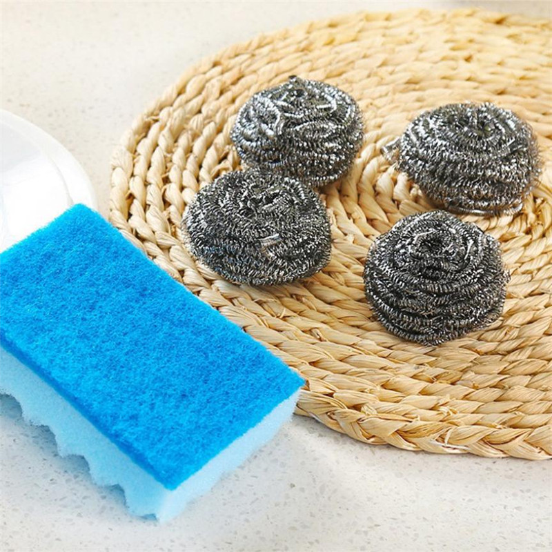 5PCS Set Stainless Steel Wire Brush Ball+Sponge Kitchen Pot Tableware Cleaner Scrub Rust Remover Dish Cleaning Scrubber sale