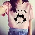 2017 Nuevas mujeres de la Camiseta Encantadora Bat Impreso Camisetas de Manga Corta camiseta Blanco/Gris/Rojo O-cuello Camisetas de Verano estilo de la Camiseta Femenina