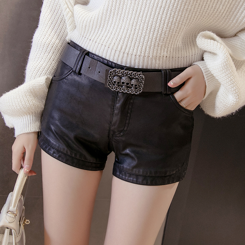 England Style Autumn winter pu leather   shorts   mid waist skinny   short   pants women   short   trousers with belt   short   femme