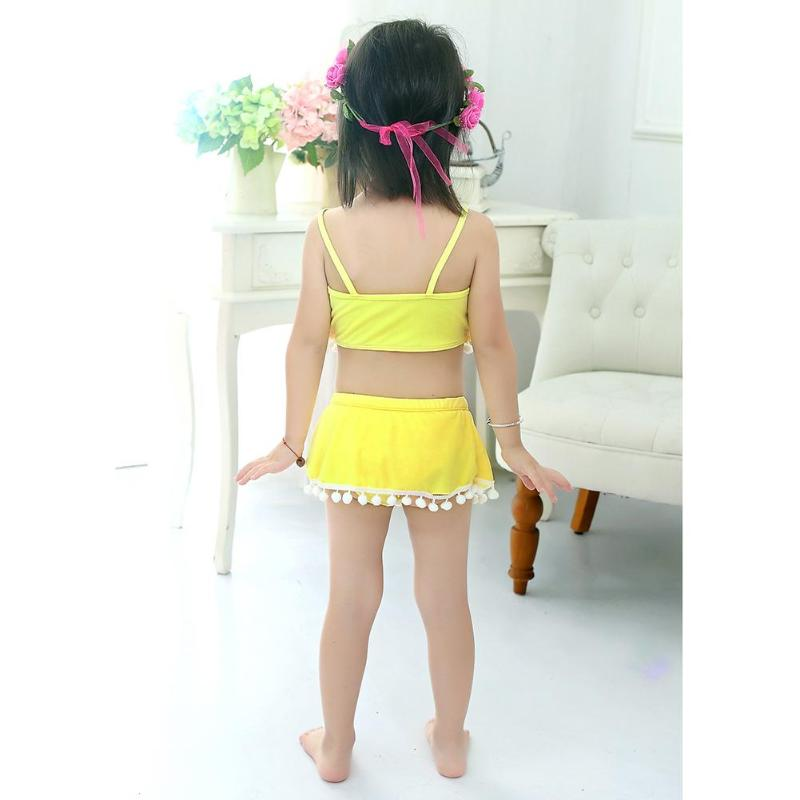 3 Colors Baby Girl Swimming Suit 2018 Summer Kids Girls Split Swimwear Tassel Beach Slip Two Piece Bathing Suit New
