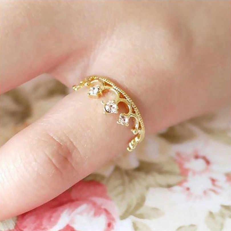 Nova Moda Hot Crown Anel Jóia Sparkling Elegante Boca Choke pequena Pimenta Com A Seção De Pequeno Lori Flash de Cristal anel