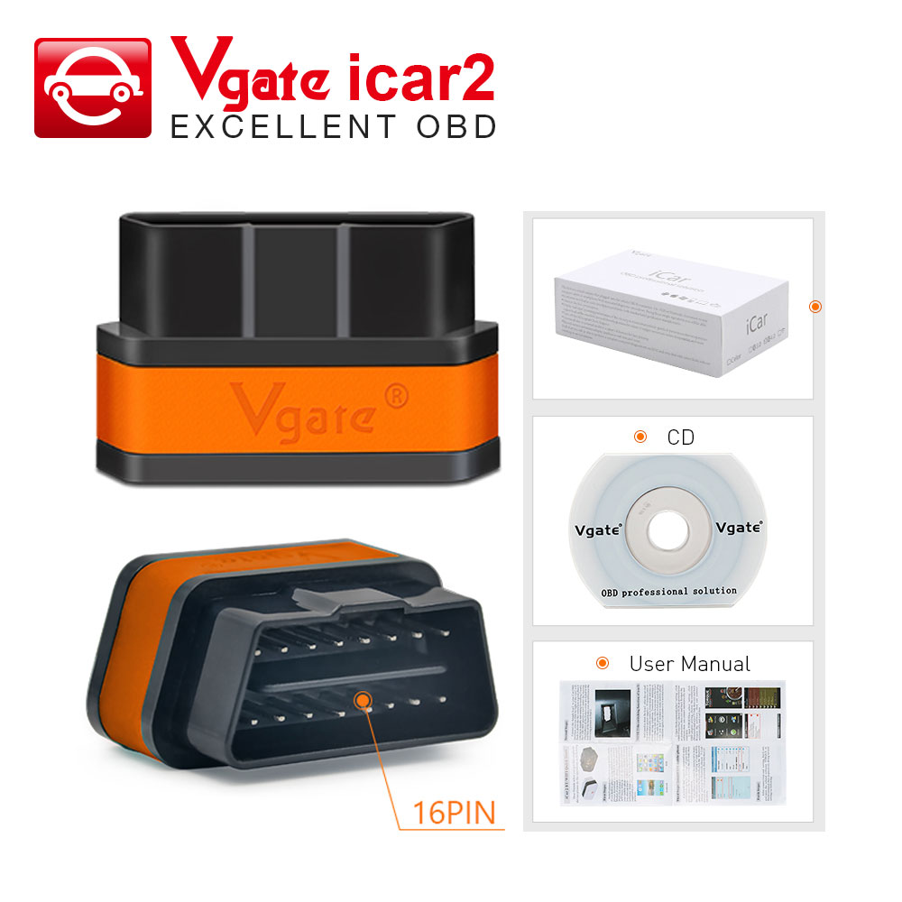 Vgate Icar2 Bluetooth/Wifi OBD2 Diagnostic Tool ELM327 Bluetooth OBD 2 Scanner Mini ELM327 WiFi For Android/IOS/PC Code Reader(China)