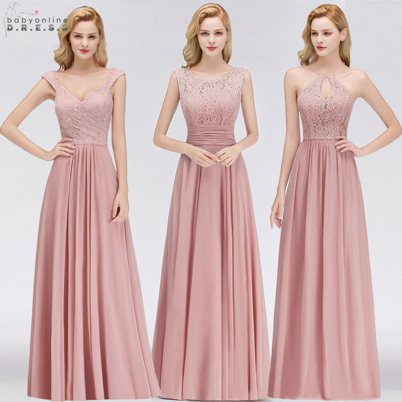 Vestido Madrinha Pink Lace Long Bridesmaid Dresses Sexy A Line Chiffon Dress For Wedding Party Robe Demoiselle D'honneur(China)