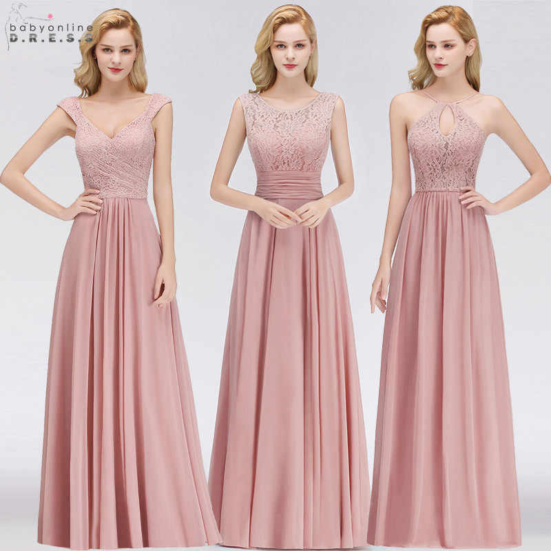 Vestido Madrinha Dusty Rose Renda Panjang Gaun Bridesmaid Seksi A Line Chiffon Gaun untuk Pesta Pernikahan Jubah Demoiselle D'honneur
