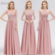 Vestido Madrinha Dusty Rose Lace Long Bridesmaid Dresses Sexy A Line Chiffon Dress for Wedding Party Robe Demoiselle D'honneur - DISCOUNT ITEM  48% OFF All Category