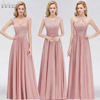 Vestido Madrinha Dusty Rose Lace Long Bridesmaid Dresses Sexy A Line Chiffon Dress for Wedding Party Robe Demoiselle D'honneur - Category 🛒 All Category