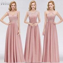 Vestido Madrinha Dusty Rose koronkowe długie suknie dla druhny Sexy linia szyfonowa sukienka na ślub szata na imprezę Demoiselle Dhonneur