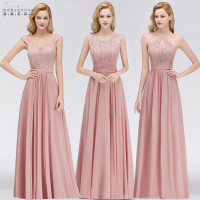Vestido Madrinha Pink Lace Long Bridesmaid Dresses Sexy A Line Chiffon Dress for Wedding Party Robe Demoiselle D'honneur