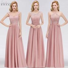 فساتين وصيفة الشرف طويلة من Vestido Madrinha باللون الوردي المغبر فستان مثير من الشيفون لحفلات الزفاف رداء Demoiselle d honneur