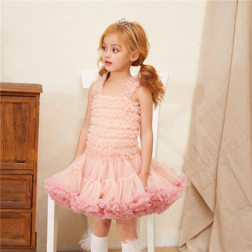 2019 été mignon filles rose Tutu robe de bal robe enfants Boutique princesse robe bébé maille bal d'anniversaire robes G020