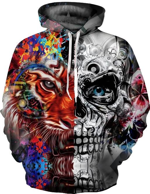 2018 3D Printing Skull Hoodies Men Women Patchwork Autumn Winter Pullover Tops Unisex Hooded Casual Hip Hop 3D Hoodie Sweatshirt