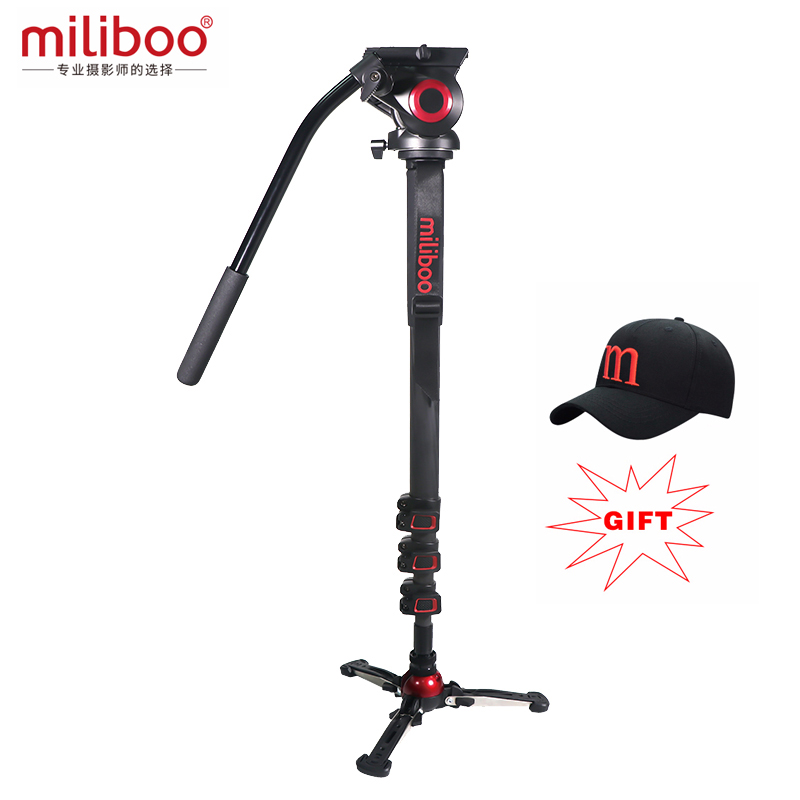 Miliboo Aluminum Carbon Transportable Fluid Head Digital camera Monopod Skilled Tripod For Camcorder /dslr Video Stand Max Peak 187Cm