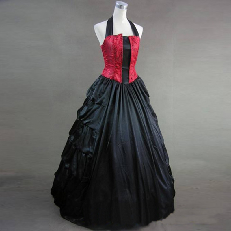 Здесь продается  2018 Red and Black Halter Gothic Victorian Period Dress 18th Century Marie Antoinette Party Dress Ball Gowns For Women  Одежда и аксессуары