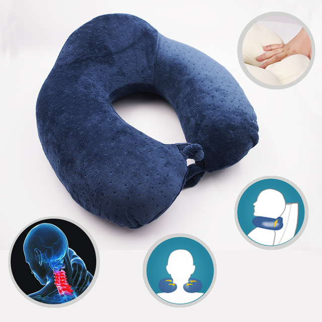 Office Chair Neck Pain Resin Folding Chairs U Shape Memory Foam Pillow For Airplane Travel Removable Covers With Zipper Relief