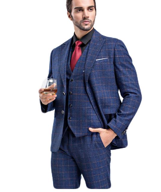 (Jaqueta + Colete + Calça) Homens Ternos Slim Fit Tamanho S-3XL Mens Ternos Com Calças Casamento Xadrez Conjuntos de negócios Desgaste Formal Dos Homens Terno Azul