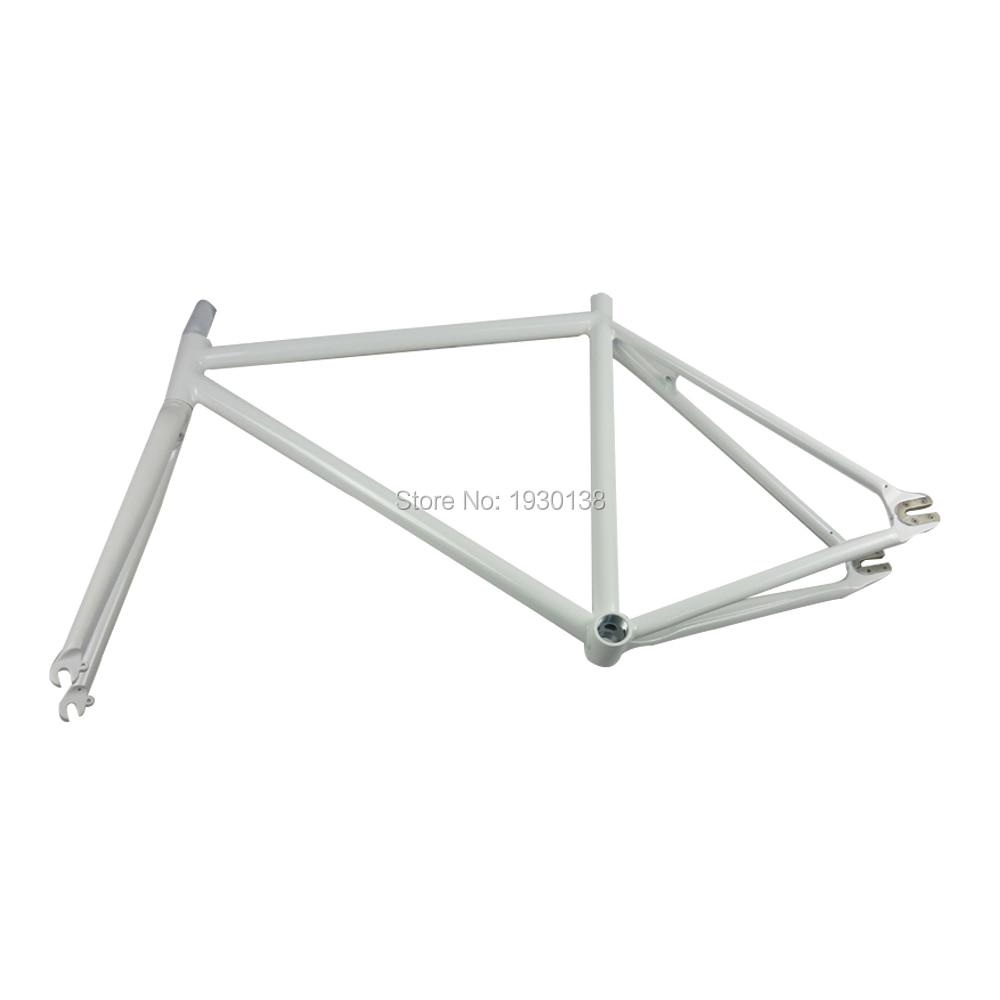 52cm frameset aluminum alloy 6061circle tube fixie fixedgear bike frame set 700c bike accessories white